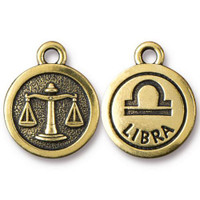 Libra Charm, Antiqued Gold Plate, 20 per Pack