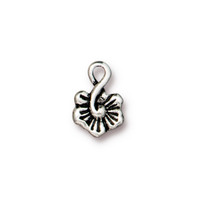 Small Blossom Charm, Antiqued Silver Plate, 20 per Pack