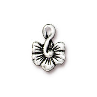 Large Blossom Charm, Antiqued Silver Plate, 20 per Pack