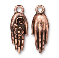 Blossom Hand Charm, Antiqued Copper Plate, 20 per Pack