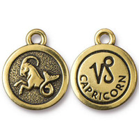 Capricorn Charm, Antiqued Gold Plate, 20 per Pack