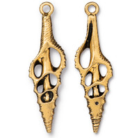 Cut Spindle Pendant, Antiqued Gold Plate, 6 per Pack