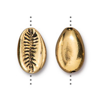 Cowrie Shell Bead, Antiqued Gold Plate, 20 per Pack