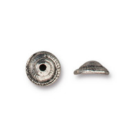 Shell 7mm Bead Cap, Antiqued Silver Plate, 20 per Pack