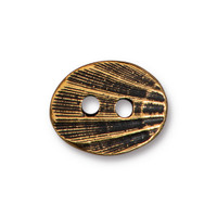 Oval Shell Button, Antiqued Gold Plate, 20 per Pack