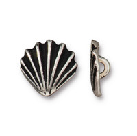 Scallop Shell Button, Antiqued Silver Plate, 20 per Pack