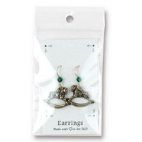 Vintage Rocking Horse Earrings Swarovski ® 4mm Emerald Crystal, Oxidized Brass Plate, 3 per Pack