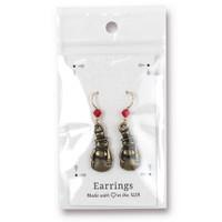 Vintage Frosty Earrings Swarovski ® 4mm Lt Siam Crystal, Oxidized Brass Plate, 3 per Pack