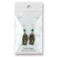 Vintage Angel Earrings Swarovski ® 4mm Emerald Crystal, Oxidized Brass Plate, 3 per Pack