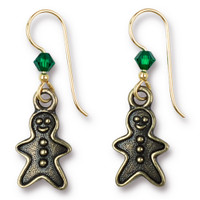 Vintage Gingerbread Man Earrings Swarovski ® 4mm Emerald Crystal, Oxidized Brass Plate, 3 per Pack