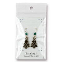 Vintage Christmas Tree Earrings Swarovski ® 4mm Emerald Crystal, Oxidized Brass Plate, 3 per Pack
