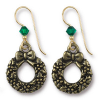 Vintage Christmas Wreath Earrings Swarovski ® 4mm Emerald Crystal, Oxidized Brass Plate, 3 per Pack
