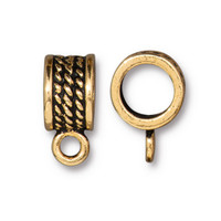 Rope Bail 8mm, Antiqued Gold Plate, 20 per Pack