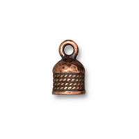 Rope Cord End 5mm, Antiqued Copper Plate, 20 per Pack