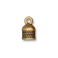 Rope Cord End 5mm, Antiqued Gold Plate, 20 per Pack