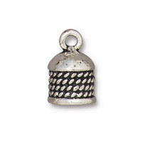 Rope Cord End 8mm, Antiqued Silver Plate, 10 per Pack