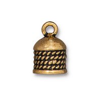 Rope Cord End 8mm, Antiqued Gold Plate, 10 per Pack