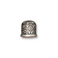 Temple Cord End 6mm No Loop, Antiqued Silver Plate, 20 per Pack