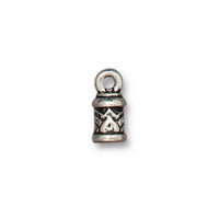Temple Cord End 2mm, Antiqued Silver Plate, 20 per Pack