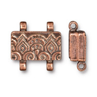 Temple Stitch-in Magnetic Clasp, Antiqued Copper Plate, 5 per Pack
