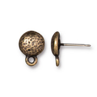 Hammertone Round Earring Post, Oxidized Brass Plate, 10 per Pack