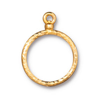 Stitch-around 18mm Hoop Charm, Gold Plate, 20 per Pack