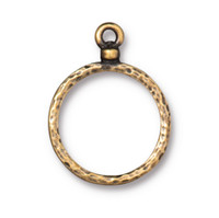 Stitch-around 18mm Hoop Charm, Oxidized Brass Plate, 20 per Pack