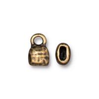 Distressed 4x2mm Crimp End Cap, Oxidized Brass Plate, 20 per Pack