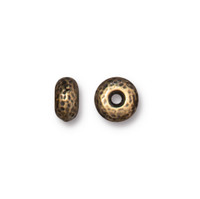 Hammertone Rondelle Bead, Oxidized Brass Plate, 20 per Pack