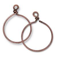 Charm Keeper Hoop 32mm inside diameter 15 gauge wire, Antiqued Copper Plate, 6 per Pack