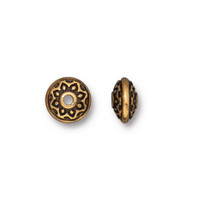 Lotus Spacer Bead, Antiqued Gold Plate, 100 per Pack
