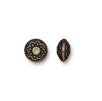 Lotus Spacer Bead, Oxidized Brass Plate, 100 per Pack