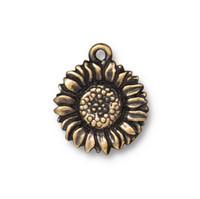 Sunflower Drop, Oxidized Brass Plate, 20 per Pack
