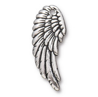 Right Angel Wing Charm, Antiqued Silver Plate, 20 per Pack