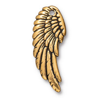 Right Angel Wing Charm, Antiqued Gold Plate, 20 per Pack