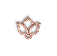 Open Lotus Charm, Antiqued Copper Plate, 20 per Pack