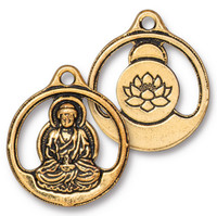 Buddha Pendant, Antiqued Gold Plate, 10 per Pack