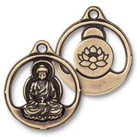 Buddha Pendant, Oxidized Brass Plate, 10 per Pack