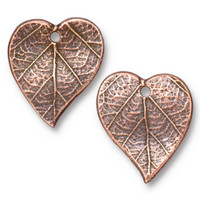 Heart Leaf Charm, Antiqued Copper Plate, 20 per Pack