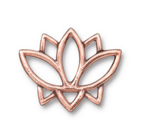 Open Lotus Link, Antiqued Copper Plate, 20 per Pack