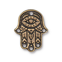 Hamsa Hand Link, Oxidized Brass Plate, 20 per Pack