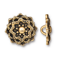 Mandala Button, Antiqued Gold Plate, 20 per Pack