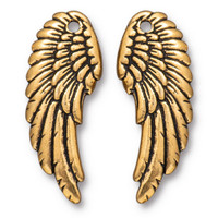 Angel Wing Set, Antiqued Gold Plate, 10 per Pack