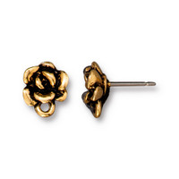 Succulent Earring Post, Antiqued Gold Plate, 10 per Pack