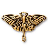 Luna Moth Pendant Link, Antiqued Gold Plate, 10 per Pack