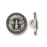 Bee Button, Antiqued Silver Plate, 20 per Pack