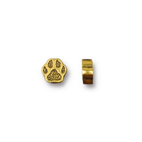 Paw Bead, Antiqued Gold Plate, 20 per Pack
