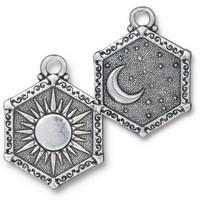 Sun & Moon Pendant, Antiqued Silver Plate, 10 per Pack