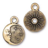 Starry Night Charm with SS9 Crystal, Antiqued Gold Plate, 6 per Pack