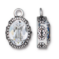 Celestial Brilliance Pendant with Crystal, Antiqued Silver Plate, 6 per Pack